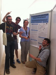 Some of our students with our longevity poster at ESEB2013