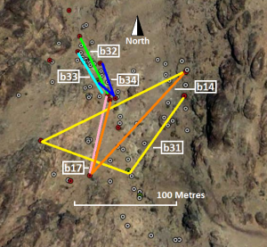 Map showing movements of selected Sinai Hairstreaks within a site