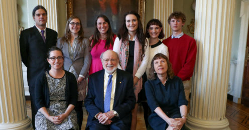 Professor William Campbell with Professors Celia Holland (front right) and Yvonne Buckley (front left). Back row L-R Professor Holland's parasitology research group: Dr Peter Stuart, Gwen Deslyper, Maureen Williams, Rachael Byrne and Paula Tierney